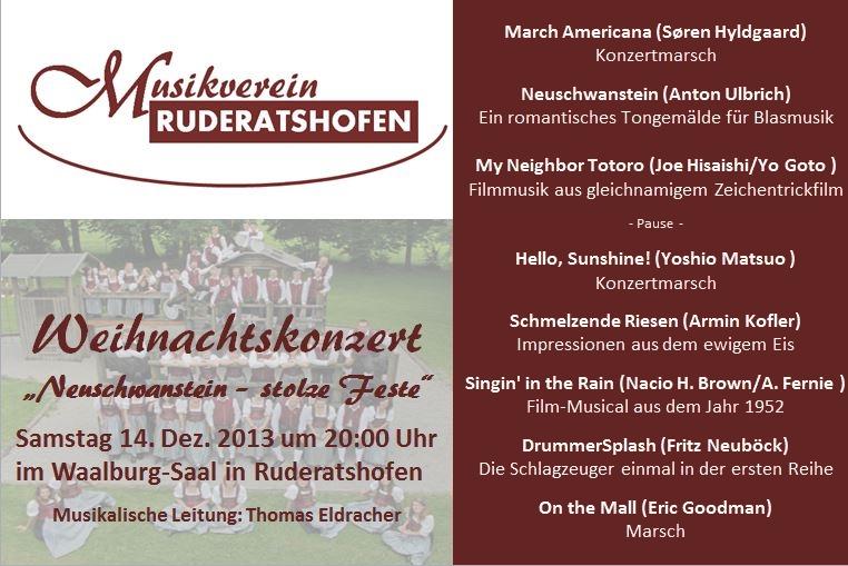Programm Weihnachtskonzert 2013